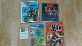 4 x action man official dossier / gold medal doll / footballer book / collector card