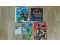 4 x action man official dossier / gold medal doll / footballer book / collector card