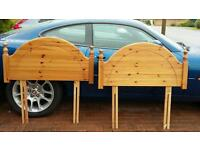 Two pine single bed headboards
