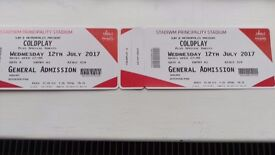 Two Coldplay tickets Cardiff 12/7/17 Pitch Standing .