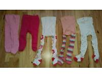 5 Brand New Baby Girl's Tights ( 2 newborn size and 3 size 0-3 Months )