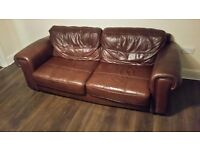 Brown leather sofas, 2+3 seaters good condition just few scuffs at back, clean anf really comfy