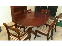Mahogany table and chairs for 6