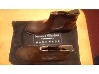 Samuel Windsor Mens Brown Leather Chelsea Boot Size 10
