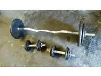 Solid EZ bar, dumbbells, caste iron weights 50kg total