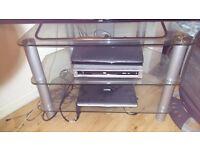 REDUCED* Tv stand. 3 shelves, glass and silver legs. £15