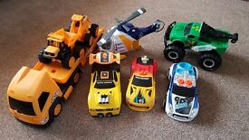 Boys toy cars helicopter truck diggers