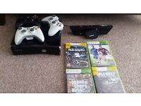 Xbox 360 + Kinetic : 250 GB : 3 Controllers : 4 games for SALE