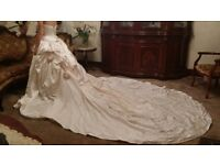 Hollywood dream two-piece princess dress made from duchess satin size 10-12..