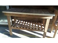 Heavy duty wooden work bench for garage, shed or potting shed, all screwed construction