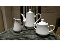 White and gold teapot set