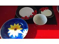 6x chelsea handmade printed & 4x egg holders plates, 7 red, 3 red bowls, 7 side plates - BARGAIN!