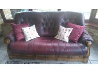 Solid Wood Leather Sofa with 3 drawers.