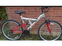 Gents large full suspension aluminium bike.