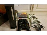 XBOX 360 ELITE BLACK EDITION WITH CONTROLLERS AND GAMES BOXED