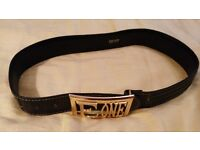 "Ladies ESCADA dark greenIsh black Leather belt with Gold ""E ONE"" Gold Buckle"