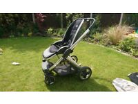 Oyster 2 pram and Cybex car seat with oyster cosy toes and oyster parasol