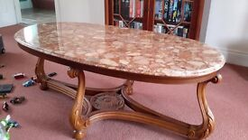 Set of 3 Solid Marble Top Tables