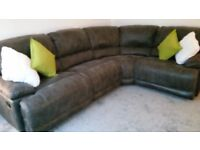 Corner Sofa grey leather immaculate condition.