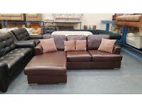 Ex-display DFS Freya brown leather chaise sofa