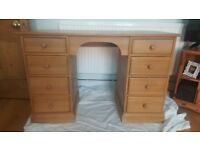 Large solid pine desk/dressing table with 8 drawers