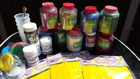 Job Lot of Craft Supplies, Glitter, Modelling Clay, Stars, Pots, Glue, Children's Aprons, Borders.