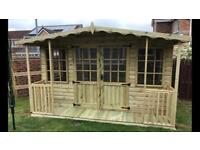10x8 Summer House with 2ft Veranda T&G Tanalised Heavy Duty Shed Garden Office