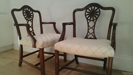 Dining carver chairs - mahogany - large and as new