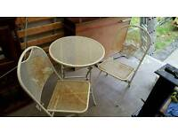 Garden table x 2 chairs