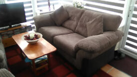 two seater sofa + two manual reclining chairs