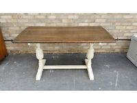REFECTORY TABLE PAINTED LEGS SANDED TOP SEATS 4-6 FARMHOUSE COUNTRY STYLE SOLID ELM