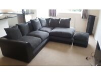Black/grey corner sofa