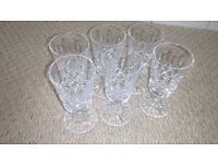 CRYSTAL GLASSES SET OF 6. PERFECT FOR CHRISTMAS DINNER