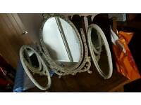 shabby chic dressing table triple mirror