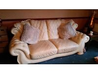 Pendragon Cream Leather Suite 2 x 3 seaters + 1 x armchair + 1 x footstool