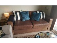 Brown leather 3 seater sofa bed (bed mechanism & mattress less than 2 years old)