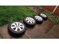 4 * Original VW Mk8 Polo 7 Spoke 15inch Alloy + Excellent BridgeStone Tyres