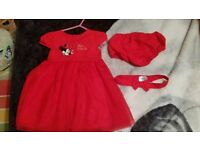 minnie mouse dress, knickers and headband
