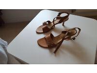 Bronze leather sandals