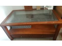 Solid wood with glass top coffee table two tier Two drawers at bottom