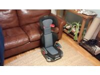 Graco Junior car booster seat in grey and black.