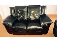 Black Leather 2&3 Seater reclining Sofas