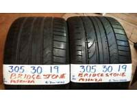 PAIR MATCHING 305 30 19 BRIDGESTONES 6-7mm tread £120pair SUP & FITD OVR 3000 TYRES IN STOCK *7 DAYS