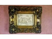 "Antique/Vintage 1875 Gold Framed Cherubs Scene..12.5""x10.5"""
