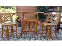 Cane Bistro table and two chairs for conservatory or kitchen