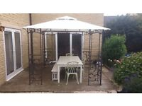 Homebase Lucca 3m x 3m Steel Leaf Patio Gazebo With Ripstop Roof