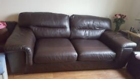Brown Leather 3 Seater Sofa & matching Armchair