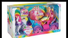 Barbie dreamtopia rainbow cove horse and carriage