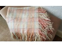 Pretty Vintage Welsh Plaid Wool Blanket with fringe