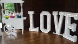 Giant 4ft Love Letters and Candy Cart and Post box with Pedestal (hire only)